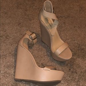 Shoes - 7.5 Nude Wedges. Never worn.